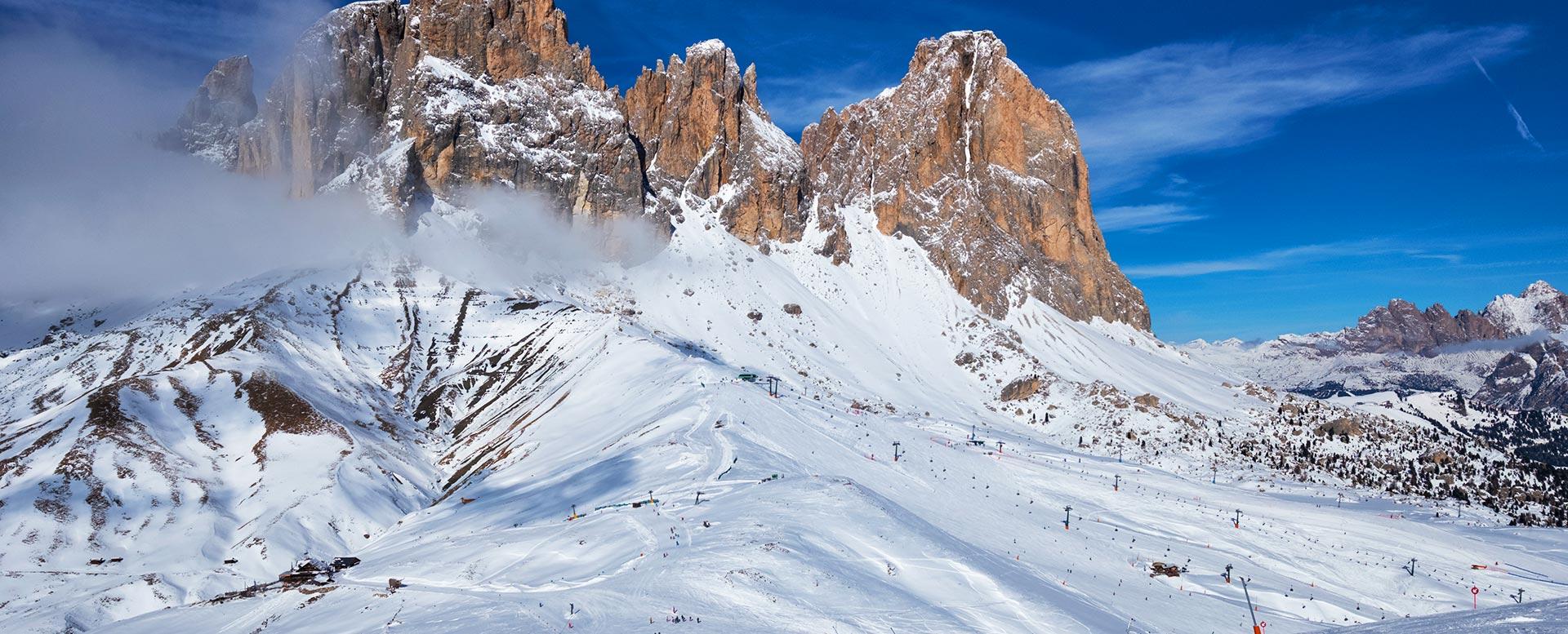 Skifahren im Fassatal, Südtirol